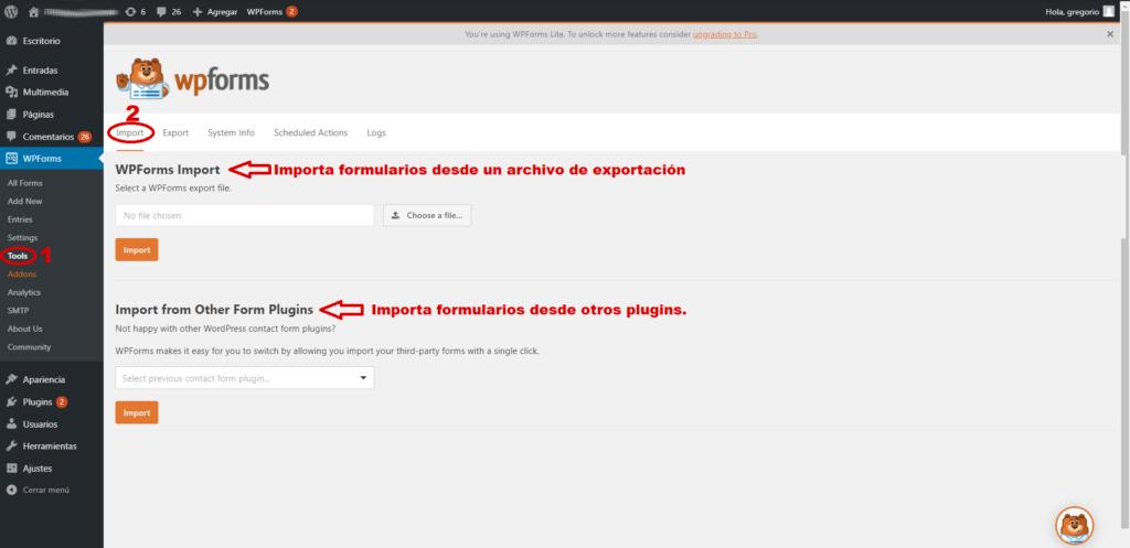 Importar formularios desde la funcionalidad de importación de WPForms