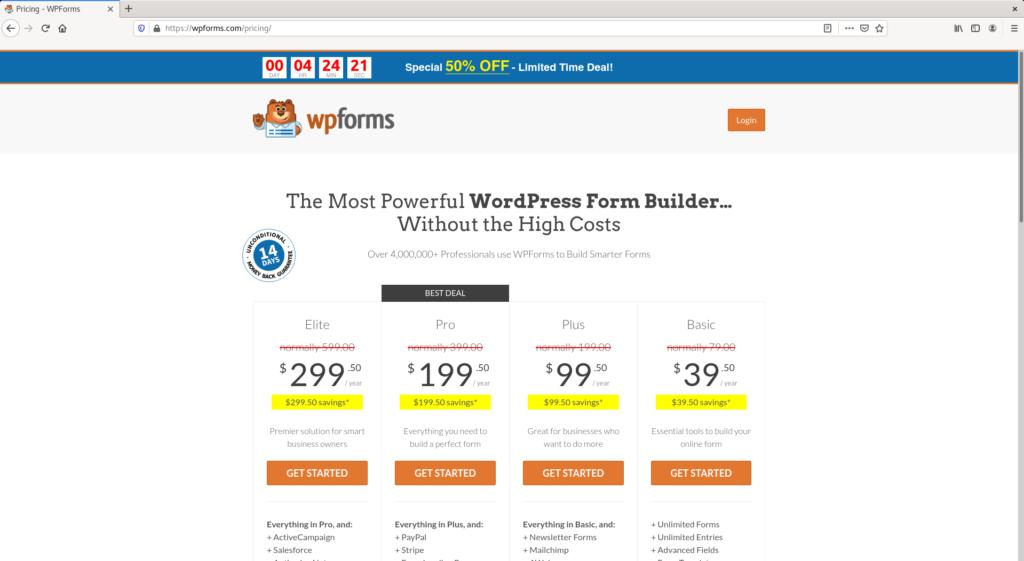 Compra de WPForms desde el sitio oficial
