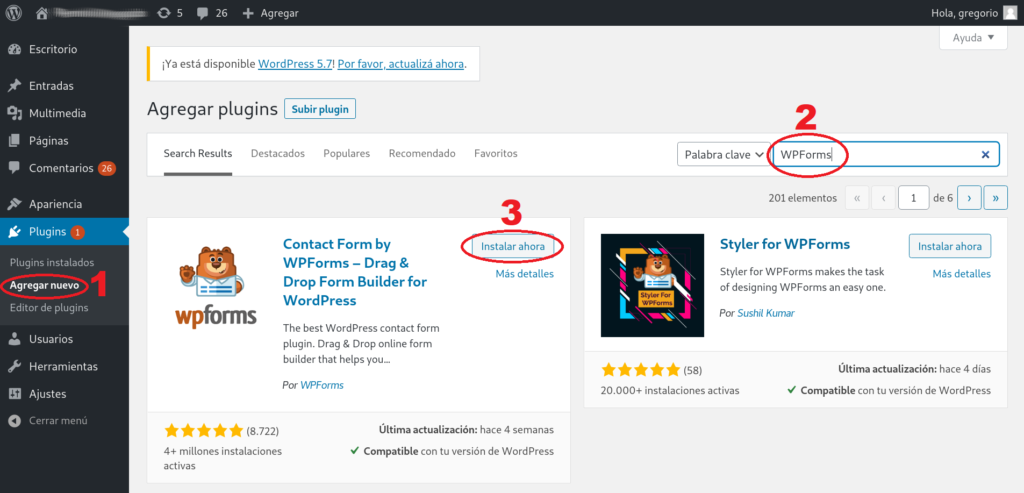 Instalacion de WPForms desde el repositorio de plugins de WordPress