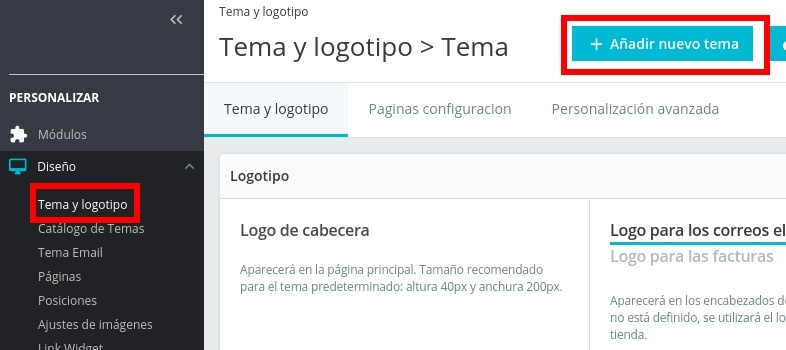 Configurar tema y logotipo de PrestaShop