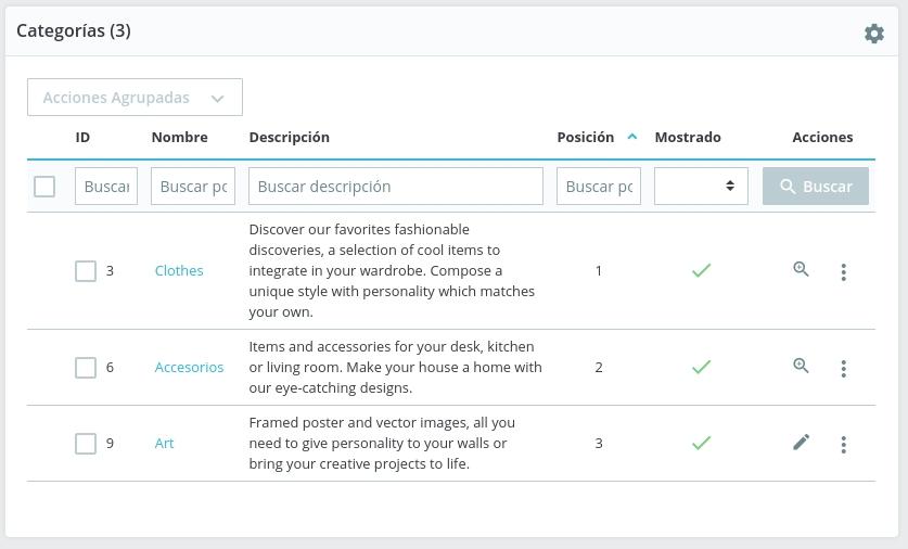 Configurar categorías en Prestashop