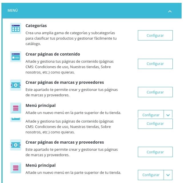 Configuración Página de Inicio PrestaShop