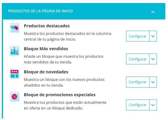 Configurar Productos de la página de Inicio Prestashop