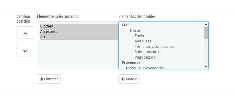 Configurar Menú Principal PrestaShop